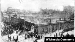 """""""Kaspi"""" qəzetinin yerləşdiyi bina, yanğından sonra, Bakı, mart 1918"""