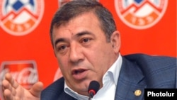 Armenia - Businessman and Football Federation President Ruben Hayrapetian at a news conference in Yerevan.