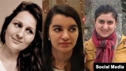 Saxlanan xanım jurnalistlər: Soldan: Aytən Fərhadova, Sevinc Vaqifqızı, İzolda Ağayeva