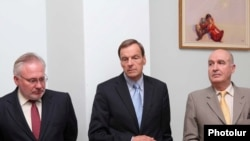 Armenia - OSCE Minsk Group Co-Chairs (from L to R) Igor Popov (Russia), Robert Bradtke (USA) and Bernard Fassier (France), Yerevan, 03Jul2010