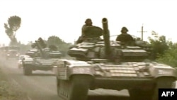 Georgian tanks entering South Ossetia near Tskhinvali on August 8