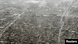 Afghanistan -- An aerial view of a part of Kandahar City, 28Sep2010