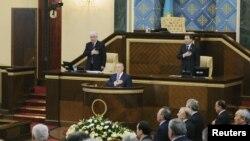 Қазақстан президенті Нұрсұлтан Назарбаев парламент палаталарының бірлескен отырсында. Астана, 20 қаңтар 2012 жыл.