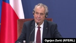 Czech President Milos Zeman at a press conference in Belgrade on September 11.