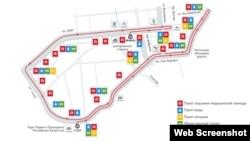 "Маршрут забега четвертого по счету Алматинского марафона. Скриншот с сайта ""Марафон.kz""."