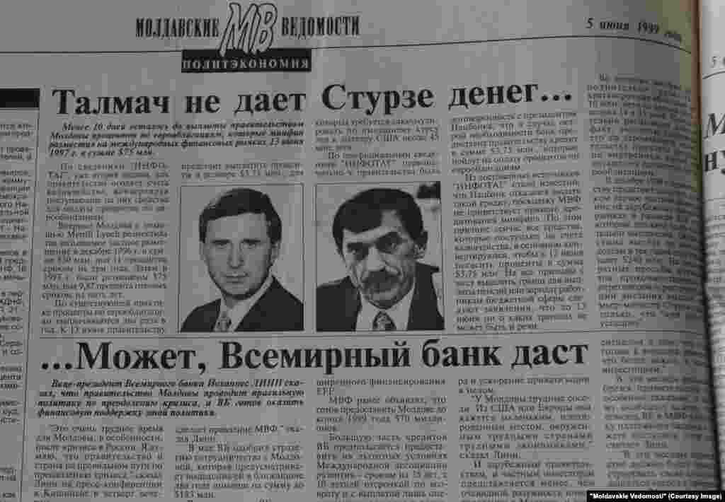 """""""Moldavskie Vedomosti"""", 5 iunie 1999, """"Talmaci nu-i dă bani lui Sturza... Poate Banca Mondială îi va da"""""""