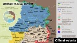 Карта: Ситуация в зоне боевых действий в Донбассе, 27 сентября 2015 года.