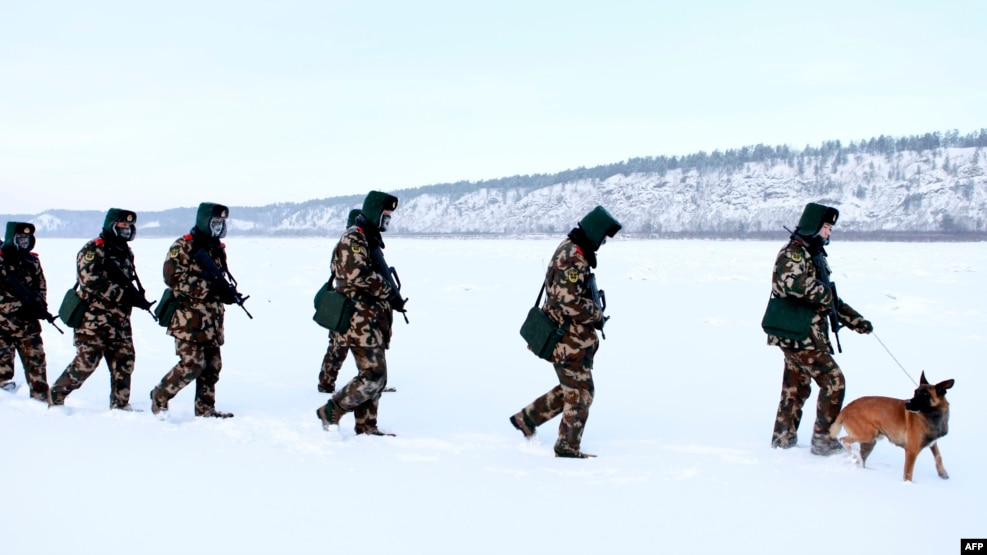 Chinese guards in Heilongjiang Province on the border with Russia.