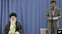 Iranian President Mahmud Ahmadinejad (right) has been weakened in his power struggles with Supreme Leader Ayatollah Ali Khamenei (left).