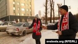 Андрэй Юркоў і ягоная дачка Яніна віншуюць студэнтаў з Днём Волі