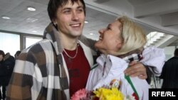 Асоль Слівец разам з мужам пасьля вяртаньня з Аліміяды-2010