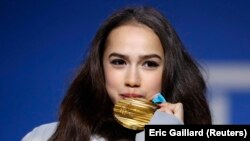 Российская фигуристка Алина Загитова, выигравшая золото на Олимпиаде в Пхёнчхане.