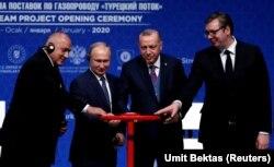 Зліва направо: прем'єр-міністр Болгарії Бойко Борисов, президент Росії Володимир Путін, президент Туреччини Реджеп Тайїп Ердоган та президент Сербії Олександр Вучич на урочистому відкритті, запуску «Турецького потоку»