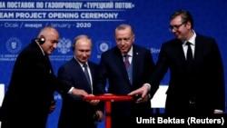 Турција- лидерите на Бугарија, Русија, Турција и Србија на отворањето на гасоводот Турски поток, 08.01.2020
