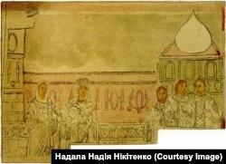 Фреска на стіні Софійського собору, на якій зображена коронація Анни в Константинополі – перед тим, як Анна вийшла заміж за князя України-Русі Володимира Святославича, її коронували і вона отримала статус цариці
