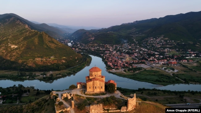 The Jvari Monastery is perched above the ancient town of Mtskheta.