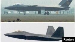 Китайский истребитель J-20 (сверху) и истребитель ВВС США F-22 Раптор. Иллюстративное фото.