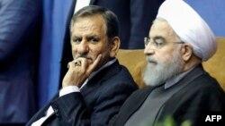 Вице-президент Ирана Эсхак Джахангири (слева) и действующий президент Ирана и кандидат в президенты Хасан Роухани. Тегеран, 13 мая 2017 года.
