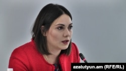 Armenia -- Deputy Justice Minister Srbuhi Galian speaks in Yerevan, October 15, 2019.