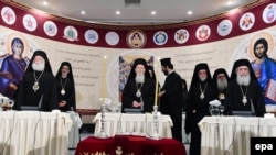 Patriarch Bartholomew I (center) and the heads of other Orthodox churches participate in the Holy and Great Council of Orthodox Churches on Crete on June 20.