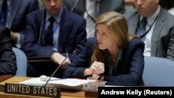Постоянный представитель США при ООН Саманта Пауэр на заседании Совета Безопасности ООН. Нью-Йорк, 25 сентября 2016 года.