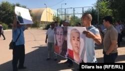 Активисты Шымкента требуют освободить политических заключенных в Казахстане. 25 августа 2019 года.