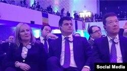 Laurenţiu Rebega (centru) la conferinţa naţionaliştilor din Koblenz (foto: Facebook)