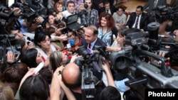 Armenia - Parliament speaker Hovik Abrahamian is interviewed by journalists, 2Oct2012.