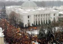 Thousands of Yushchenko supporters surrounded Ukraine's parliament during its special session on 27 November