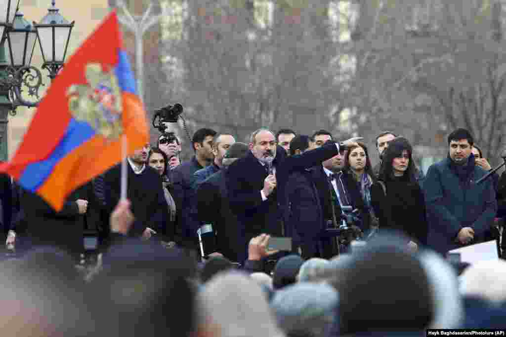 Pashinian addresses supporters during the gathering on Republic Square.