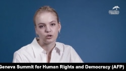 Daria Navalnaya, the daughter of jailed Russian opposition leader Aleksei Navalny, delivers a recorded speech during the Geneva Summit for Human Rights and Democracy on June 8.