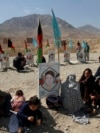 Afghan families gather at the graves of their relatives, adorned with their pictures on the outskirts of Kabul, on September 14.