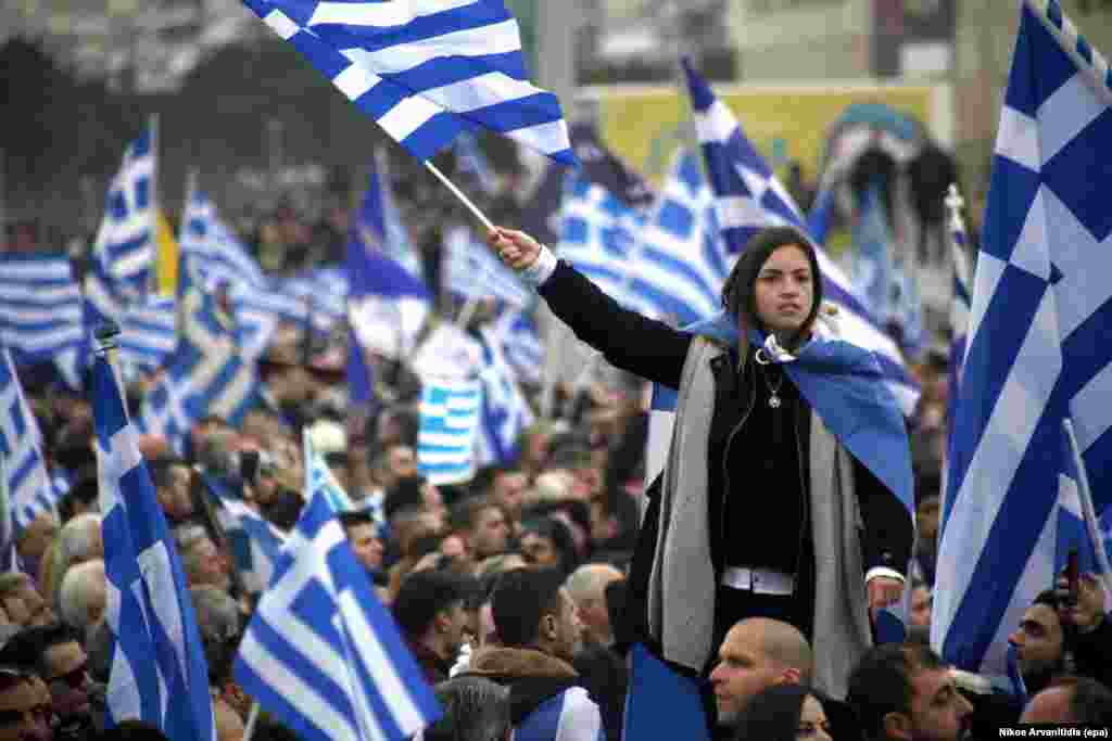 "Protesters at the January 21 rally in Thessaloniki. Many hard-liners in Greece insist that whatever name is agreed for the former Yugoslav republic, the title must not include the term ""Macedonia."" Others, including Greek Prime Minister Alex Tsipras, have indicated they would accept ""Macedonia"" to be included in a compound name."