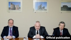 Armenia - James Warlick (R) of the United States, Russia's Igor Popov (C) and France's Jacque Faure, the three co-chairs of the OSCE Minsk Group, at a meeting with Defense Minister Seyran Ohanian in Yerevan, 4Feb2014.