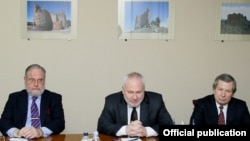 Armenia - James Warlick (R) of the United States, Russia's Igor Popov (C) and France's Jacques Faure (L), the three co-chairs of the OSCE Minsk Group, at a meeting with Defense Minister Seyran Ohanian in Yerevan, 4Feb2014.