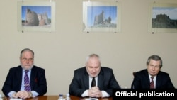 Armenia - James Warlick (R) of the United States, Russia's Igor Popov (C) and France's Jacques Faure, the three co-chairs of the OSCE Minsk Group, at a meeting with Defense Minister Seyran Ohanian in Yerevan, 4Feb2014.