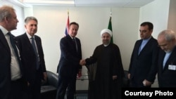 عکسی از دیدار روحانی و کامرون که در صفحه فیسبوک آقای روحانی منتشر شده است. ۲ مهر ۹۳.