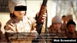 "A screen grab from ""Race Toward Good,"" a video released by the Islamic State militant group showing Kazakh nationals, including children, in training in Syria"