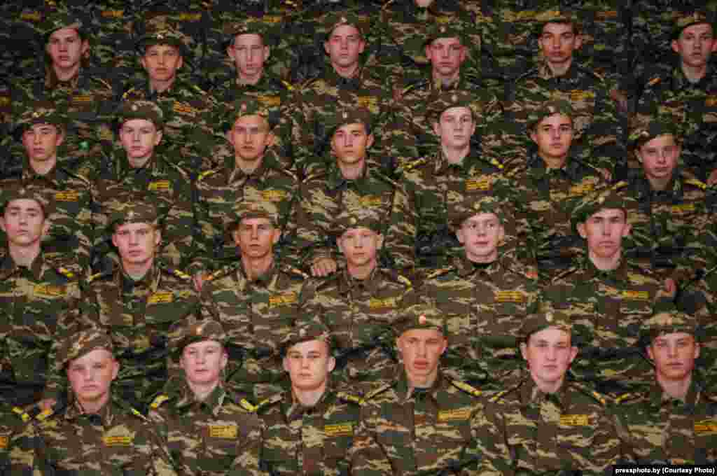 Students at a military school in Minsk Oblast after taking the cadet's oath. Photo by Aleh Rubchenya