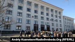 Мітинг біля Луганської ОДА, 10 березня 2014 року