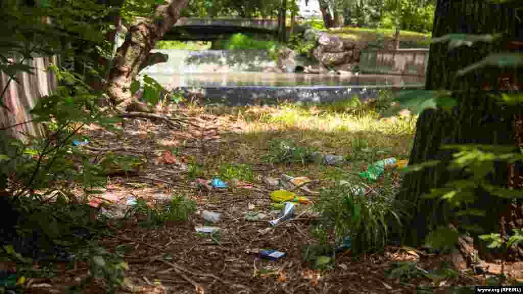 Здесь, видимо, был пикник с видом на реку. Теперь отдохнуть в этом месте можно любуясь и мусором