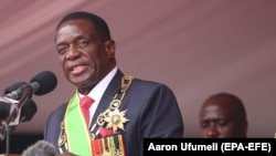 ZIMBABWE -- Emmerson Mnangagwa speaks after being sworn in as Zimbabwe's president in Harare, November 24, 2017