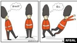 Ойлонбостон «Брекзит!» дегенде... Евгений Олийнуктун азил сүрөтү.