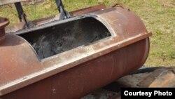 Печь, в которой предположительно сжигали живых животных