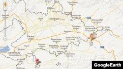 Карта границы между Кыргызстаном и Узбекистаном