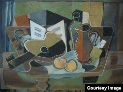 """Картина Ж. Брака """"Натюрморт с гитарой"""" (1928), фанера, роспись по дереву, 46 х 65 см"""