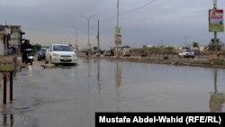 شوارع كربلاء تغمرها مياه الأمطار.