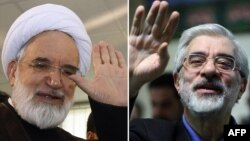 Mehdi Karrubi (left) and Mir Hossein Musavi have been under house arrest for a year.