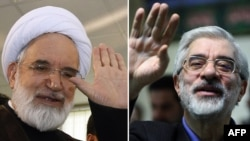 National Confidence reformist party Mehdi Karrubi (left) and former Iranian Prime Minister Mir Hossein Musavi.