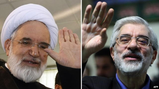 Iranian opposition leaders Mir Hossein Musavi (right) and Mehdi Karrubi have been under house arrest for nearly three years.